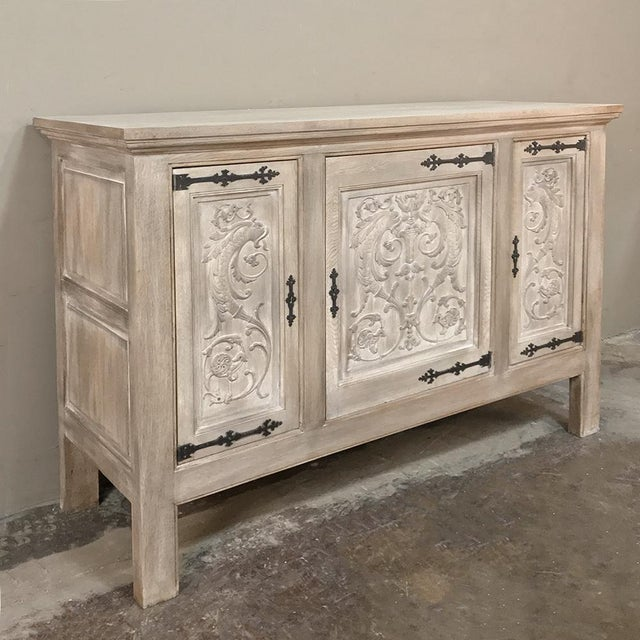 Gothic Buffet, Antique Gothic in Whitewashed Oak For Sale - Image 3 of 13