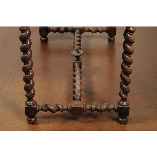 French Walnut Louis XIII Style Desk with Barley Twist Base from the 19th Century For Sale - Image 4 of 13