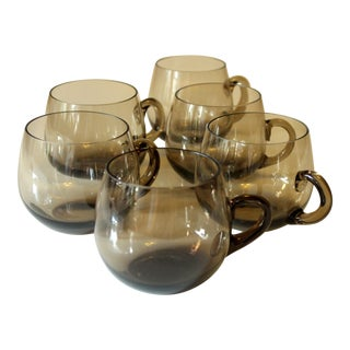 Vintage Smoked Glass Tea and Punch Glasses With Handles - Set of 6 For Sale