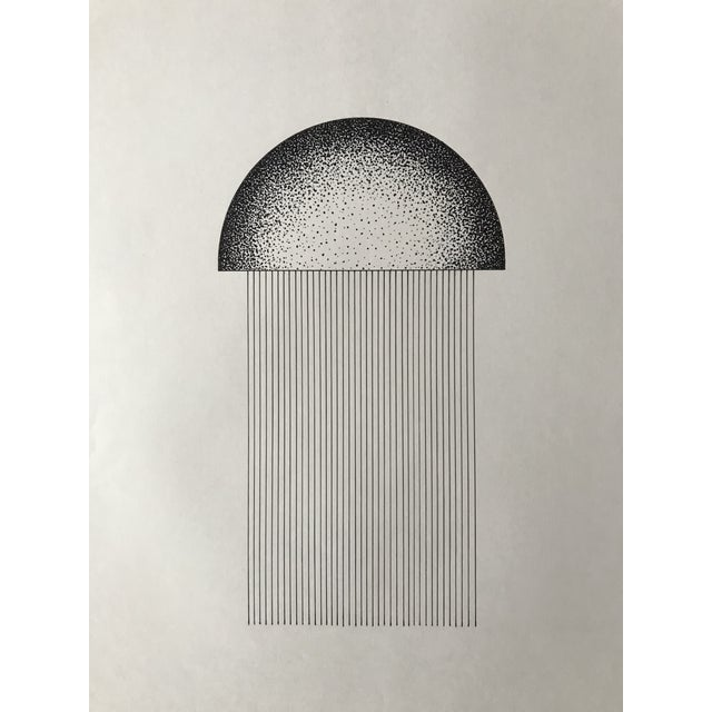 Hand drawn lines with stippled half circle in black ink. Drawn on archive quality white paper. Unframed.