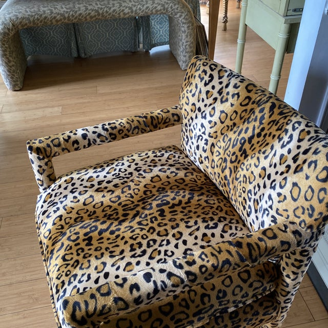 Hollywood Regency Velvet Cheetah Newly Upholstered Parsons Chairs - a Pair For Sale - Image 3 of 11