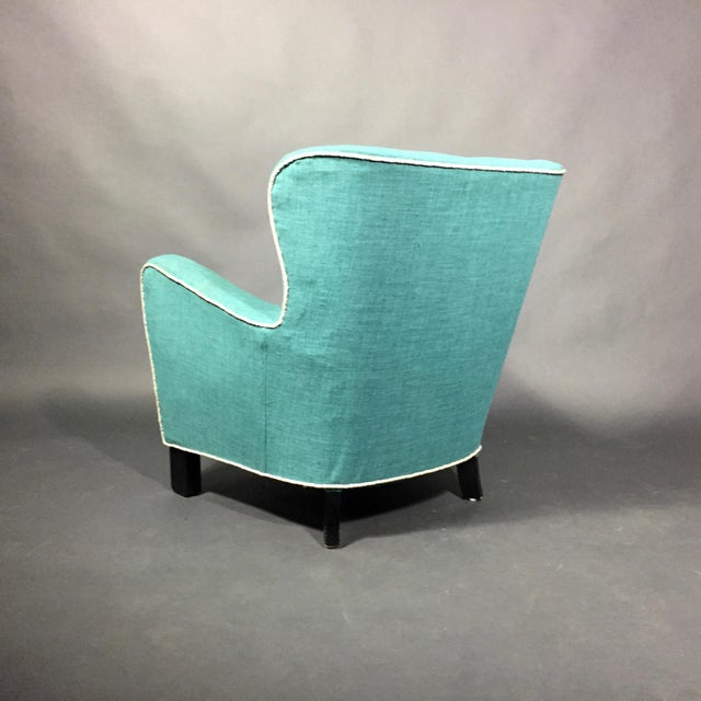 Late 1930s Danish Buttoned Armchair With Turquoise Upholstery For Sale In New York - Image 6 of 10