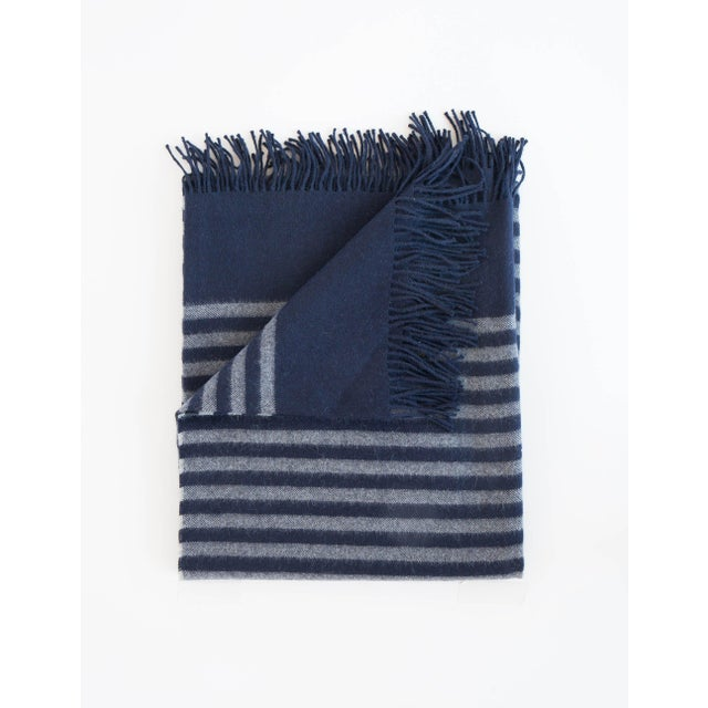 Alpaca Throw in Midnight Stripe For Sale - Image 13 of 13