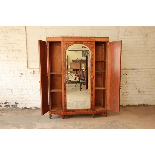 Vintage French Art Deco Burl Wood Mirrored Front Knockdown Wardrobe For Sale In South Bend - Image 6 of 11
