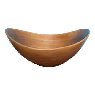Modernist Hand Made Sculptural Wooden Bowl by Thielemann Halberstadt Germany For Sale