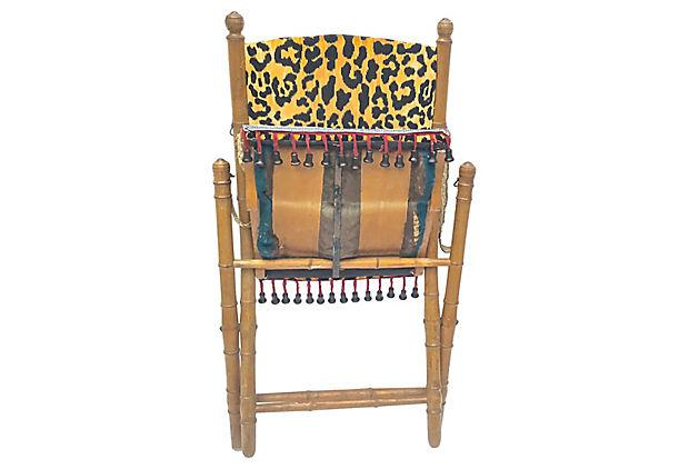 Antique Leopard Folding Campaign Chair For Sale   Image 5 Of 10