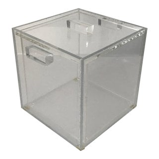 Charles Hollis Jones Style Cube Lucite Acrylic Ice Bucket For Sale