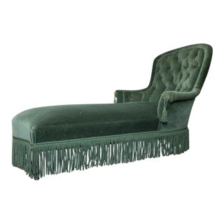 French Napoleon III Period Green Velvet Chaise Lounge For Sale
