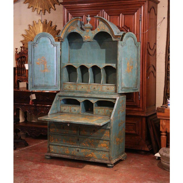 Late 18th Century 18th Century Italian Hand Painted Secretary Bookcase With Chinoiserie Decor For Sale - Image 5 of 12