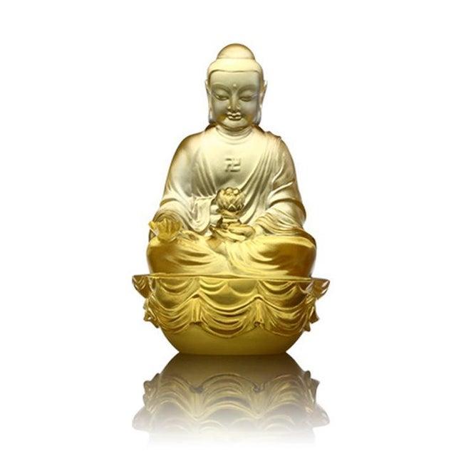 "LIULI Crystal Art Crystal ""Present Mindfulness"" Amitabha Buddha, Guardians of Peace, Gold For Sale - Image 4 of 4"