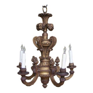 Early 20th C Italian Giltwood Chandelier with Flames and Plume