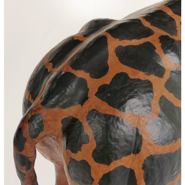Black 4 Foot Tall Leather Giraffe Sculpture For Sale - Image 8 of 11