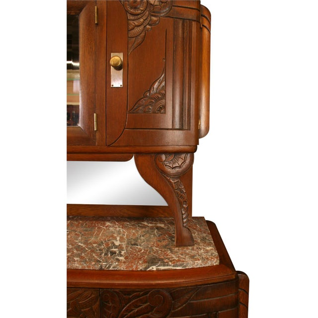 1920 French Art Deco Carved Walnut Buffet - Image 7 of 8