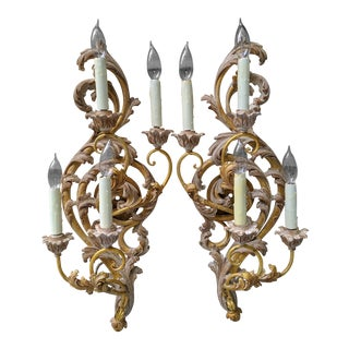 20th Century Italian Rococo Antiqued Giltwood Electrified 4 Light Sconces - a Pair For Sale