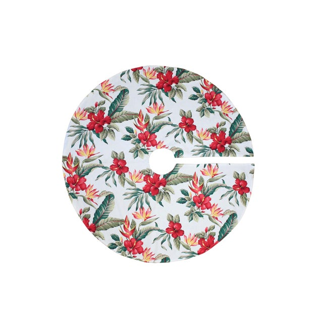 Paul Frankl Tommy Bahama Style Tropical Polynesian Hibiscus Flower Christmas in Hawaii Tree Skirt For Sale - Image 4 of 4