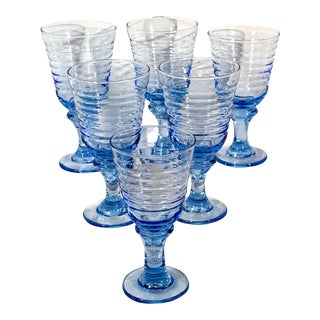 1990s Libbey Sirrus Blue Rings on Bowl Vintage Water Goblets Rings on Bowl - Set of 6 For Sale