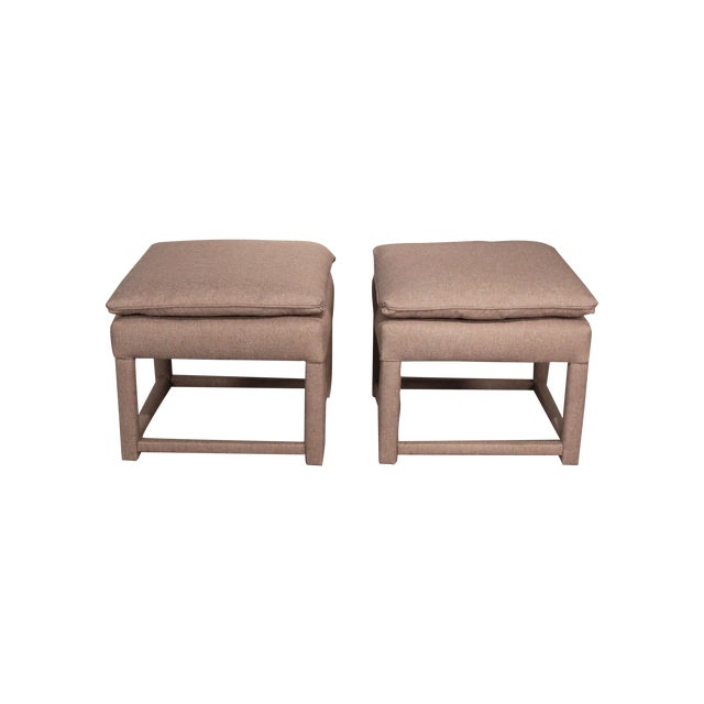 Upholstered Parsons Style Ottomans - Pair - Image 1 of 6