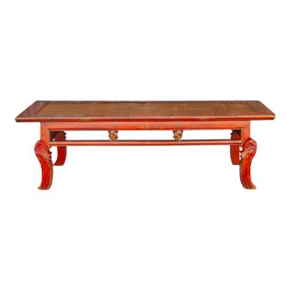 19th Century Red Lacquered Rattan Altar Table For Sale