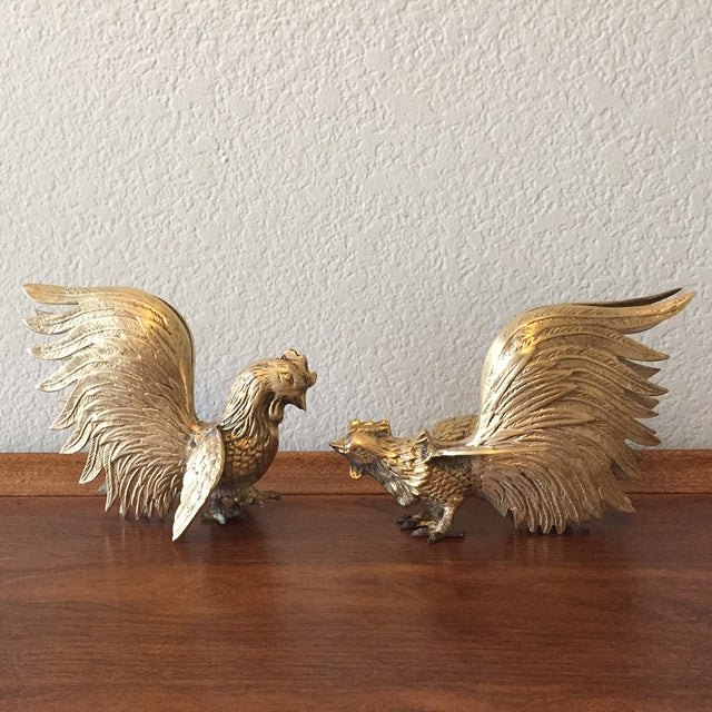 Vintage Brass Fighting Roosters - A Pair - Image 2 of 5
