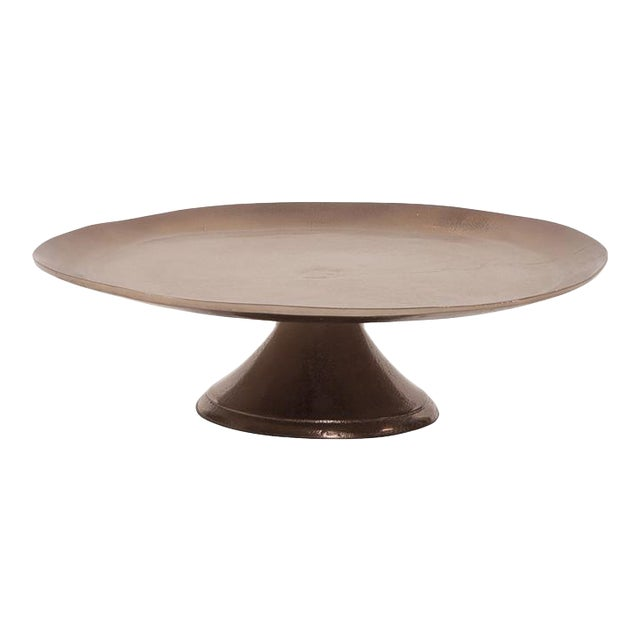 Kenneth Ludwig Bronze Aluminum Organic Round Footed Plate For Sale