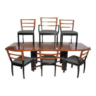 Art Deco Hastings Dining Table / Chairs Double X-Base Teague / Deskey For Sale