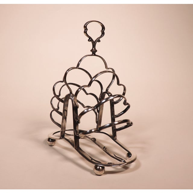 English 1950's English Silver Plated Toast Rack For Sale - Image 3 of 13