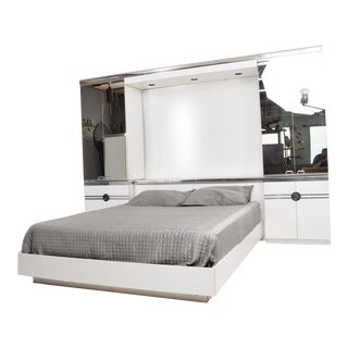 1970s Designer Pierre Cardin Mirrored Bedroom Set Ensemble Cool Chrome & White For Sale