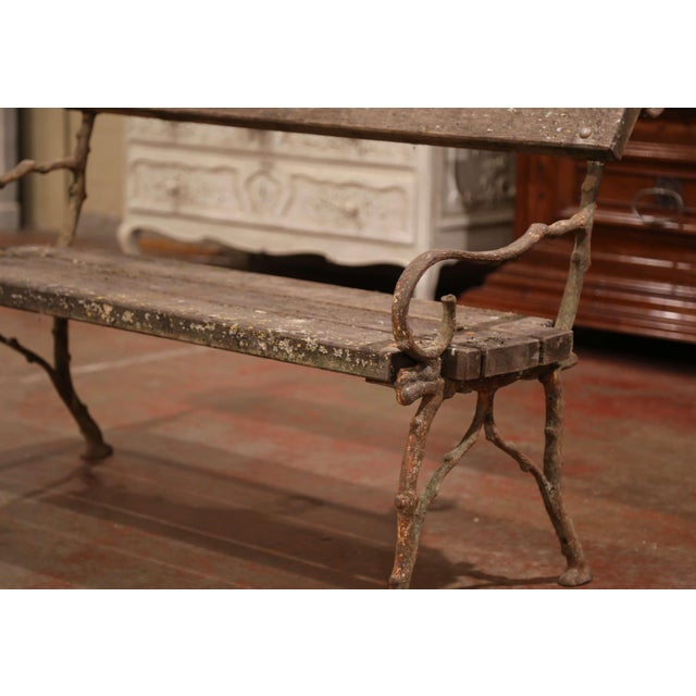 French 19th Century French Weathered Iron and Wood Outdoor Garden Bench For Sale - Image 3 of 9