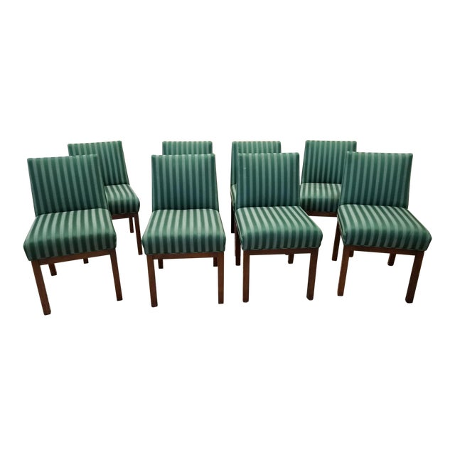 1970s Directional Contract Furniture Green Striped Upholstered Dining Room Chairs - Set of 8 - Image 1 of 11