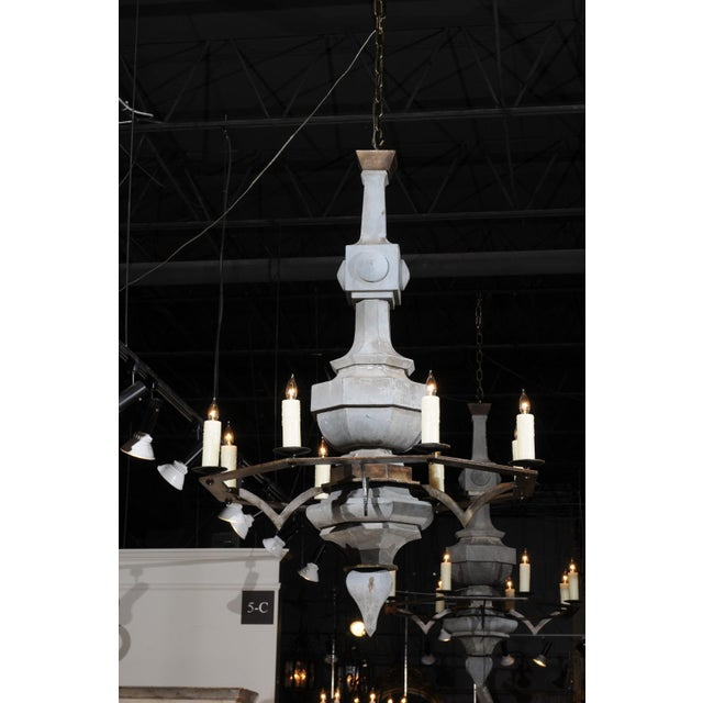 Contemporary Grand Scale Contemporary Industrial Chandelier Made with 19th Century Zinc Finial For Sale - Image 3 of 11