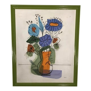 Original 1950's Charle' Still Life Painting on Board For Sale