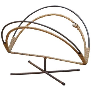Rare Mid-Century Design Icon an Arthur Umanoff Iron and Cane Log Holder Rack For Sale