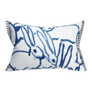 Bunny Fabric Hutch Print Navy Groundworks Lumbar Pillow For Sale