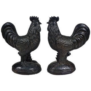 1890s Antique French Folk Art Black Cast Iron Sculpture Roosters - a Pair For Sale