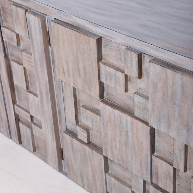 Wood Mid-Century Modern Brutalist Dresser, Lane Patchwork Walnut Tiles, After Paul Evans For Sale - Image 7 of 10