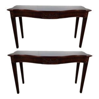 Georgian Style Mahogany Demilune Consoles - A Pair