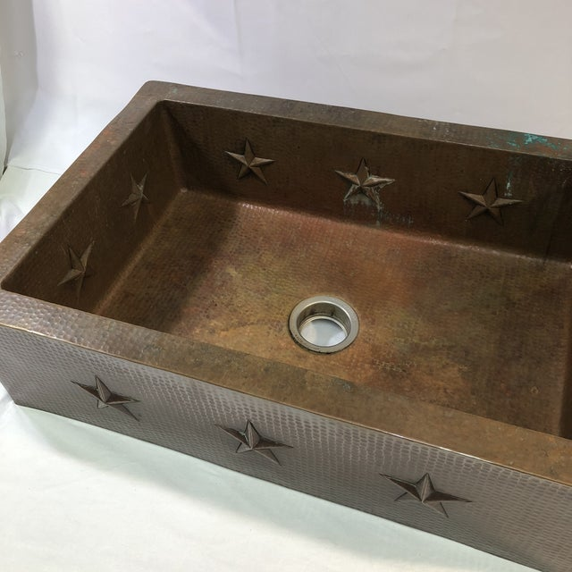 """Hammered Copper 33"""" Star Apron Sink For Sale - Image 4 of 13"""
