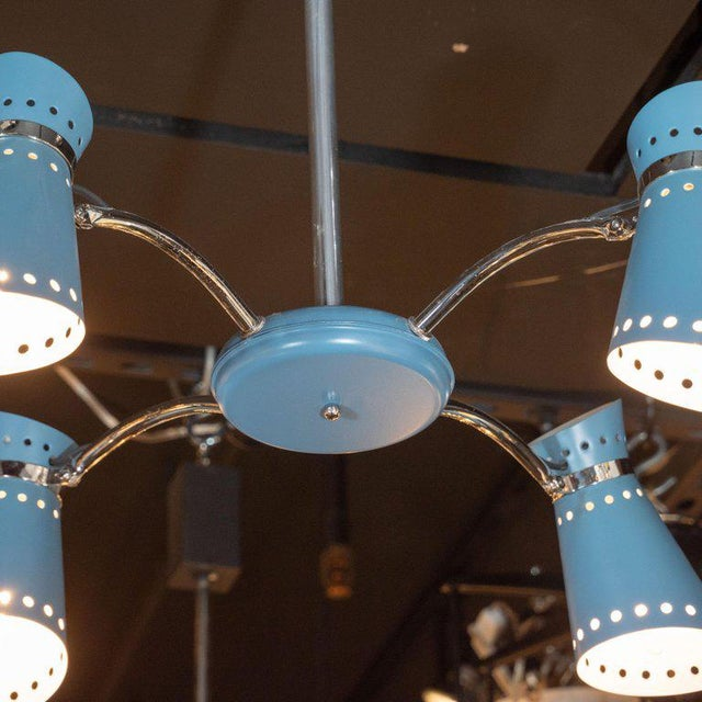 Mid-Century Modern Four-Arm Chrome and Cerulean Blue Enamel Chandelier For Sale - Image 4 of 9