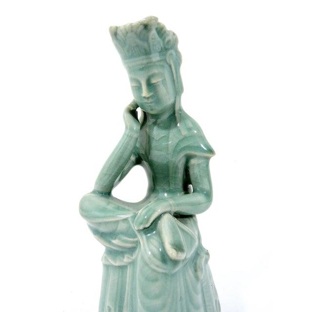 1970s Vintage Figure of Goddess Guan Yin, Crackleware Celadon For Sale - Image 4 of 7