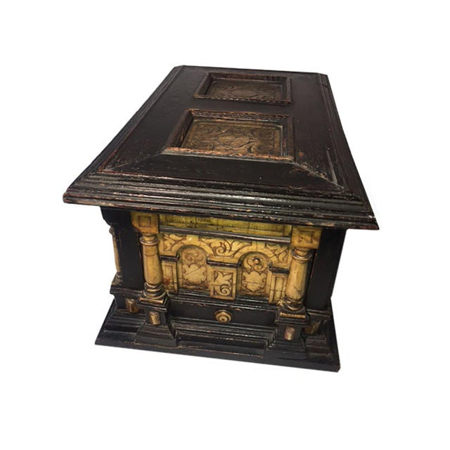 17th Century Alabaster and Ebonised Wood Casket Malines Coffer For Sale In Dallas - Image 6 of 7