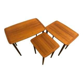 Mid-Century Teak Nesting Tables From Norway - Set of 3 For Sale