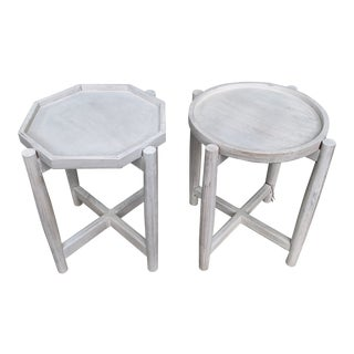 Pair of Geometric White Washed Wood Accent Table For Sale