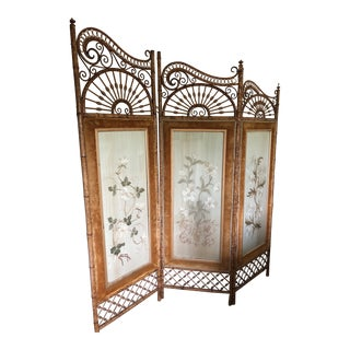 Circa 1890 French Embroidered Three Panelled Bamboo Room Divider For Sale