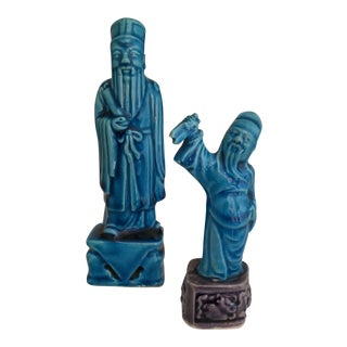 Vintage Turquoise Chinese Ceramic Figures- Pair For Sale