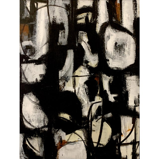 A beautiful original acrylic painting in black and white with touches of a deep rust. Framed in a simple metal black...