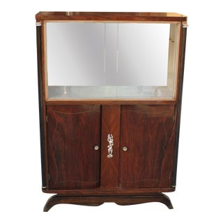 1940s Jules Leleu French Art Deco Macassar Ebony Bar / Display Cabinet For Sale