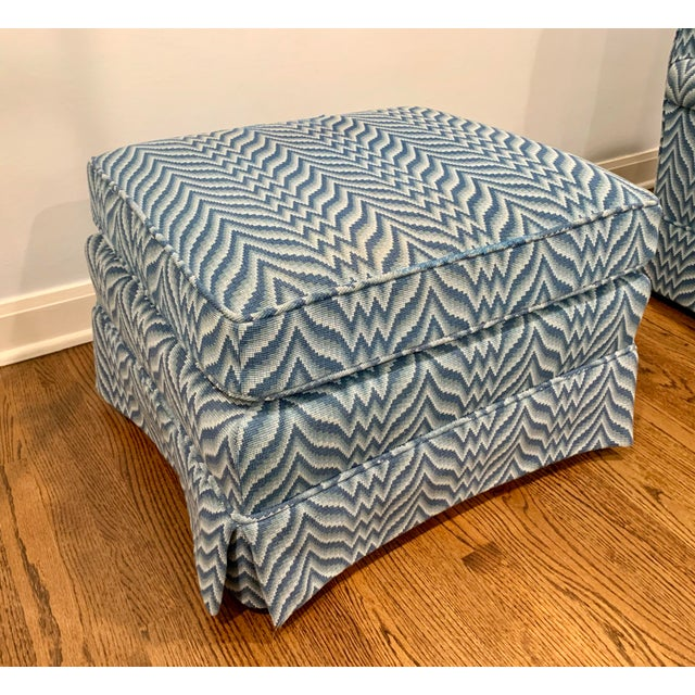 Wood Baker Bargello Skirted Ottoman For Sale - Image 7 of 7
