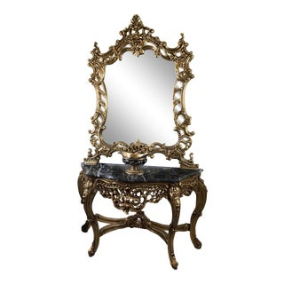 Louis XV Giltwood Mirror & Console, French Chair, Handmade, Antique Vintage Furniture Reproduction , Victorian For Sale