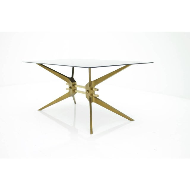 Italian Coffee Table in Brass and Glass, 1950s For Sale - Image 4 of 8