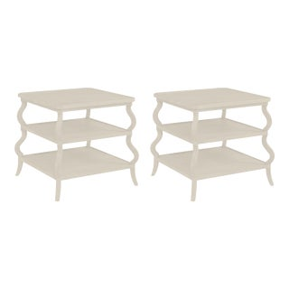 Abbott Tiered Side Table in Revere Pewter - a Pair For Sale